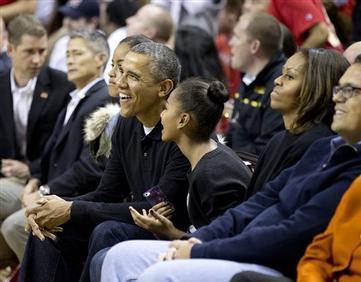Obamas Attend Oregon St.-Md. Basketball Game