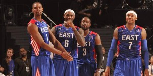 Chris Bosh, LeBron James, Dwyane Wade, and Carmelo Anthony during the  NBA All-Star Weekend.