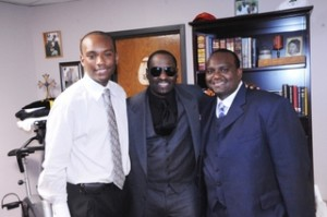 Singer Johnny Gill with Timothy Carter left and Daniel Carter following their parents anniversary salute