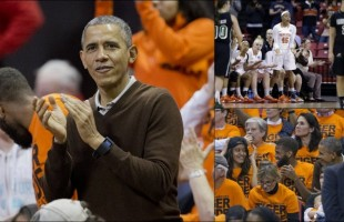Obama Cheers Niece on at NCAA Women's Basketball Game
