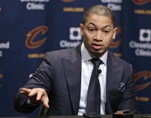 Cleveland Cavaliers coach Tyronn Lue answers questions during a news conference before an NBA basketball game between the Chicago Bulls and the Cavaliers, Saturday, Jan. 23, 2016, in Cleveland. (AP Photo/Tony Dejak)