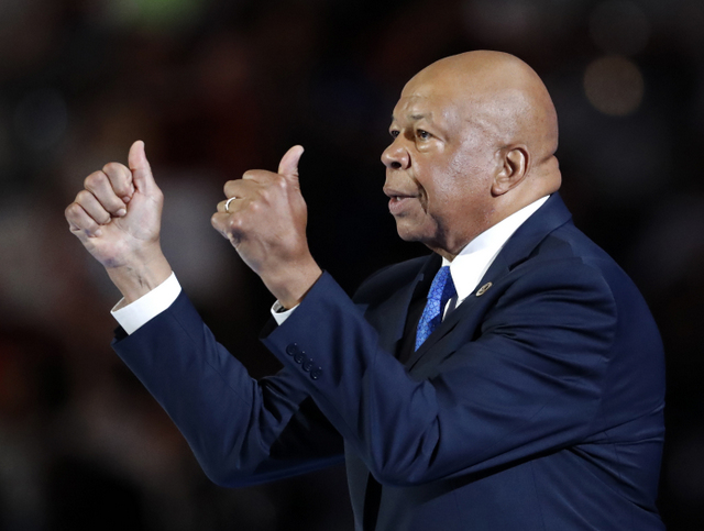 Rep. Elijah Cummings, D-Maryland, gives two thumbs up following his speech during the first day of the Democratic National Convention in Philadelphia , Monday, July 25, 2016. (AP Photo/Paul Sancya)