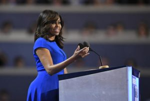 First Lady Michelle Obama speaks during the first day of the Democratic National Convention in Philadelphia , Monday, July 25, 2016. (AP Photo/Mark J. Terrill)