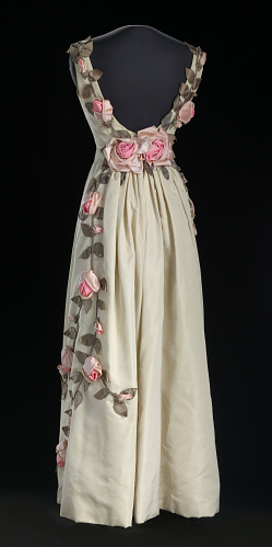 Pink floral back dress designed by Ann Lowe