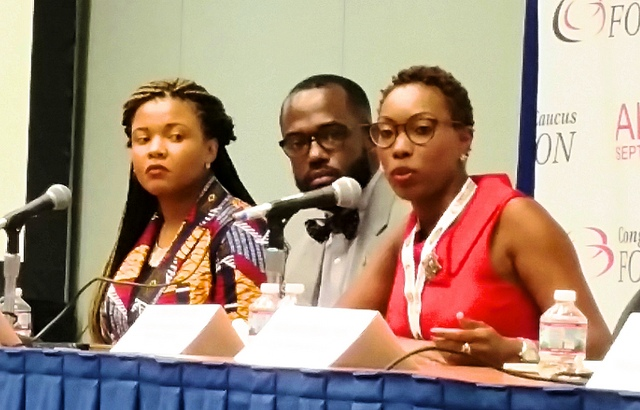 (from left) Erica Jordan-Thomas, principal Ranson IB Middle School in Charlotte, N.C., William L. Blake, Ed.D., principal at Stephen Decatur Middle School in Clinton, Md., and Elena Bell, Ed.M., principal at Peabody and Watkins Elementary School in Washington, D.C. (AFRO Photo/Brenda Siler)