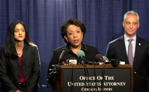 Attorney General Loretta Lynch speaks during a news conference accompanied by Principal Deputy Assistant Attorney General Vanita Gupta, left, and Chicago Mayor Rahm Emanuel Friday, Jan. 13, 2017, in Chicago. The U.S. Justice Department issued a scathing report on civil rights abuses by Chicago's police department over the years. The report released Friday alleges that institutional Chicago Police Department problems have led to serious civil rights violations, including racial bias and a tendency to use excessive force. (AP Photo/Teresa Crawford)