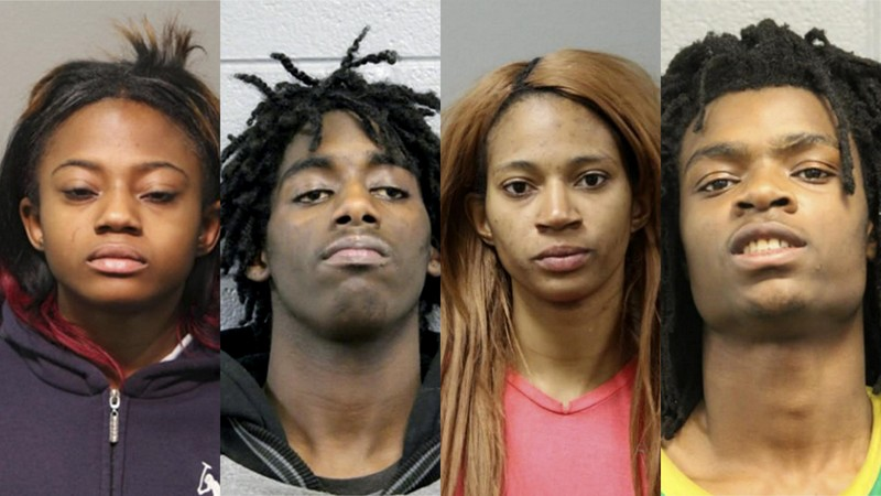 These booking photos provided by the Chicago Police Department show, from left to right, Brittany Covington, Jordan Hill, Tesfaye Cooper, and Tanishia Covington four people charged, Thursday, Jan. 5, 2017, with aggravated kidnapping and taking part in a hate crime after allegedly beating and taunting a man in a video broadcast live on Facebook. (Chicago Police Department via AP)