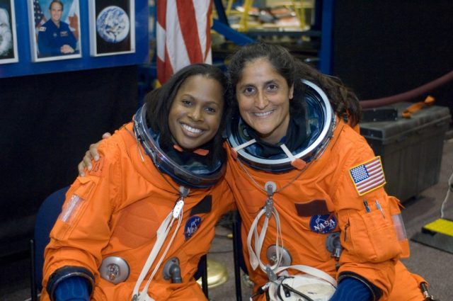 Joan Higginbotham, left, here with flight engineer Sunita L. Williams, flew into outer space in 2006 aboard the space shuttle Discovery. (Courtesy photo)