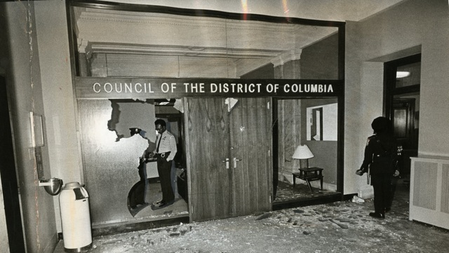 Picture of interior damage of the John A. Wilson Building. (Courtesy Photo-D.C. Council)
