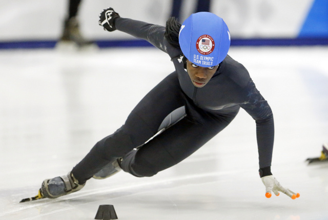 b3630fe5fbe4 Maame Biney (1) competes in the women s 1000-meter during the U.S.Olympic  short track speedskating trials Sunday